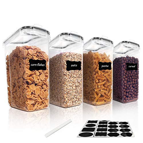Vtopmart Cereal Storage Container Set, BPA Free Plastic Airtight Food Storage Containers 135.2 fl oz for Cereal, Snacks and Sugar, 4 Piece Set Cereal Dispensers with 24 Chalkboard Labels, Black