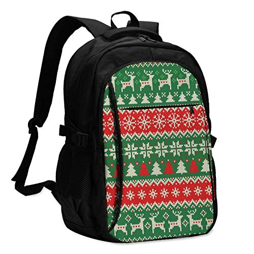 XCNGG Red Green Christmas Travel Laptop Backpack with USB Charging Port Multifunction Work School Bag