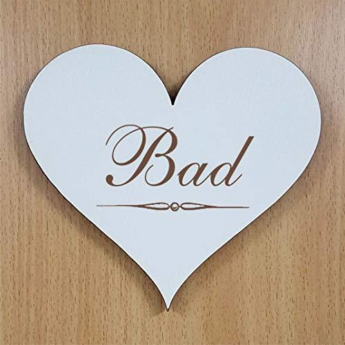 Schild Herz « BAD » ca. 13 x 12 cm - selbstklebendes Türschild Dekoschild Wohnaccessoires - Badezimmer