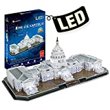 CubicFun 3D Lighting Puzzle U.S. Capitol Washington with 6 LED Bulbs Architecture Building Model Kits Toys for Adults Lighting Up in Night