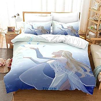 Haonsy Kids Frozen Elsa Bedding Duvet Cover Bed Set Queen 3D Cartoon Ice and Snow Adventure Comforter Cover Set for Girls 1 Bedding Cover 2 Pillow Shams