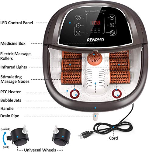 RENPHO Foot Spa Bath Massager with Fast Heating, Automatic Massage, and Powerful Bubble Jets, Motorized Shiatsu Massaging Rollers, Pedicure for Tired Feet, Adjustable Time and Temperature, LED Display