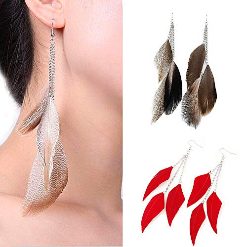 Jurxy 2 pares de pendientes colgantes de plumas estilo bohemio para mujer, joyería de 3 grandes plumas borla gancho oreja pendientes - gris y rojo