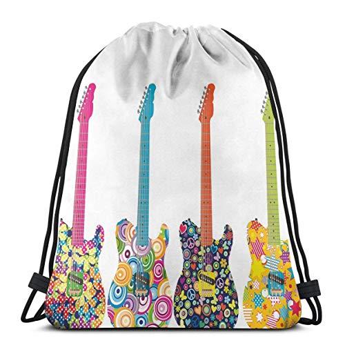 Odelia Palmer Mochilas Estampadas con cordón, diseño de Guitarras eléctricas con Flores...