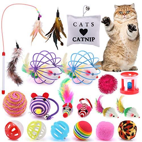ASANMU Katzenspielzeug, 20 Stück Spielzeug Katzen Katze Toys Variety Pack Interaktives Spielzeug mit Federn Maus Katze Katzenteaserstab Plüschspielzeug Katzenspielzeug Bälle Set Spielzeug für Katzen