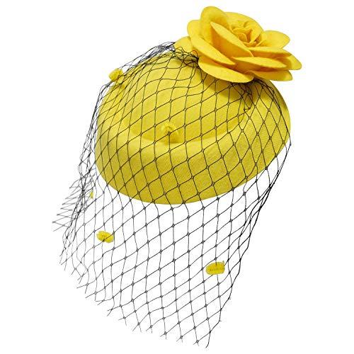 Ro Rox Ruby Rosen Vintage Retro 40er 50er Jahre Fascinator Hochzeit Party Hut - Gelb