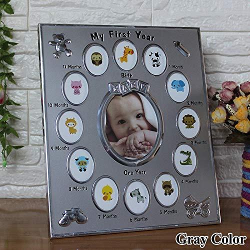 TRJGDCP Fotolijst, babycadeau, mijn eerste jaar, 1 tot 12 maanden, metalen fotolijst, voor kinderen, wooncultuur, babygroei, records op maat gemaakt
