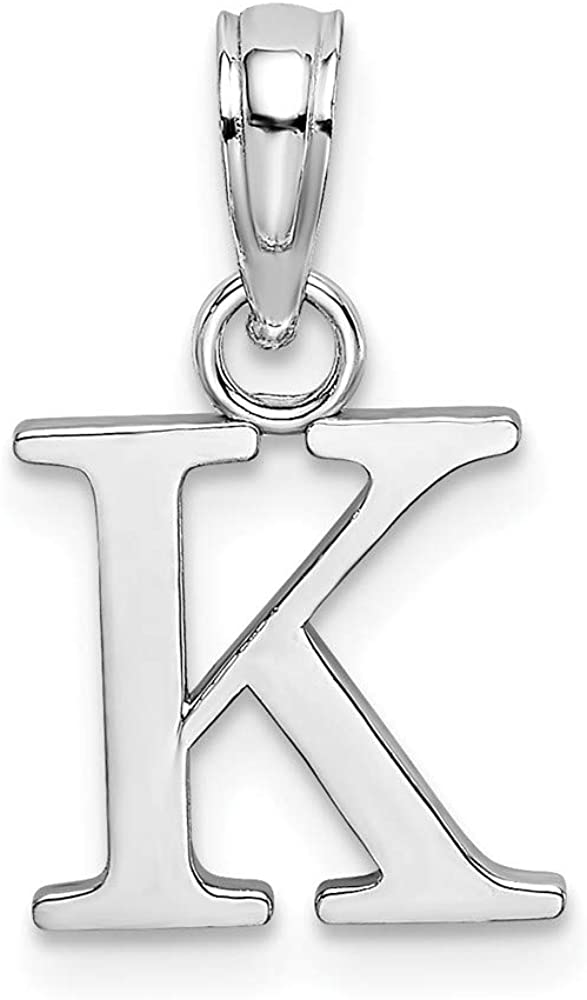 Solid 14K White Gold Max 51% OFF K Block Alphabet Penda Letter Charm Initial Department store