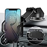 Cell Phone Holder for Car Phone Mount with Suction Cup x-auto 2-in-1,Ultra Stable Phone Stand Strong Grip Dashboard Windshield Air Vent,Upgraded Handsfree Universal,Compatible with All Smartphone
