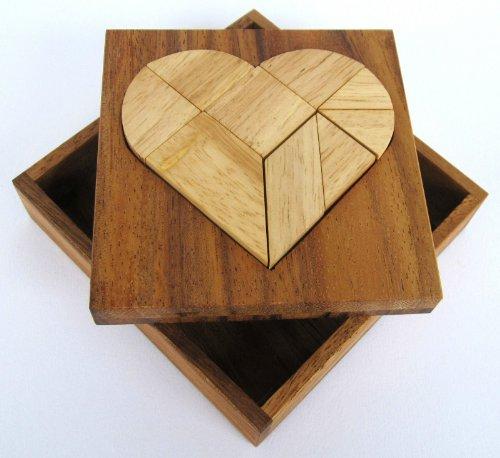 Tangram 'Herz' - Legespiel - Denkspiel - Knobelspiel - Geduldspiel - Logikspiel aus Holz