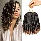 Liyate 3 Packs Spring Twist Crochet Braids Hair 8 Inch Colors Black Blonde Synthetic Jamaican Bounce Short Fluffy Afro Spring Twist Braiding Hair Extensions for African Black Women (1B/27#)