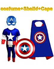 Complete Captain America Costume Set Kids Halloween Cosplay Carnival Costumes for Children | Fancy Dress Competition | B'day Party | Birthday Gift | B'day Gift | Superhero Cape