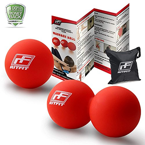 RitFit Massage Ball Set (1 Peanut Massage Ball &1 Lacrosse Ball) for Myofascial Release, Trigger Point Therapy, Muscle Knots, and Yoga Therapy, Bonus Free Carry Bag and Workout Guide