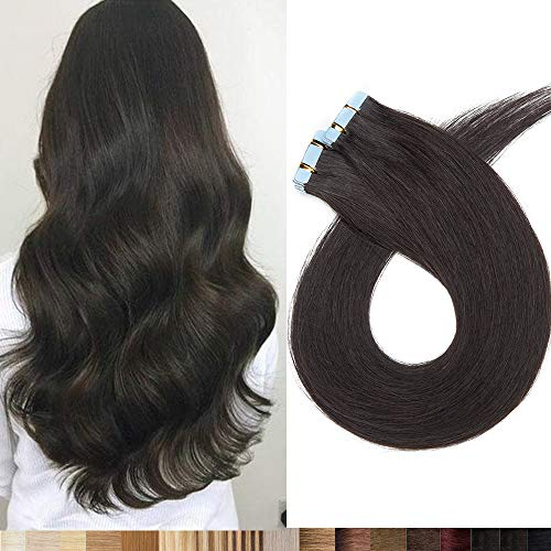 Silk-co Extensiones de Pelo Natural Adhesiva Cabello Humano (20PCS*1.5g) Tape in Hair Extensions 100% Remy Hair 30g-50cm 04# Marrón Medio