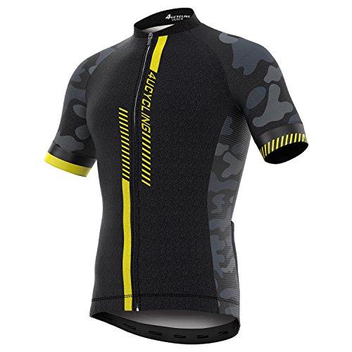 4ucycling Men's Short Sleeve Cycling Jersey Full Zip Moisture