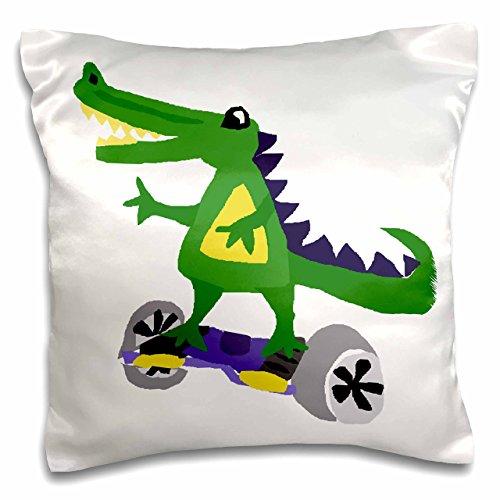 3dRose Funny Alligator mit motorisierte Skateboard-Pillow Fall, 16von 40,6cm (PC 224790_ 1)