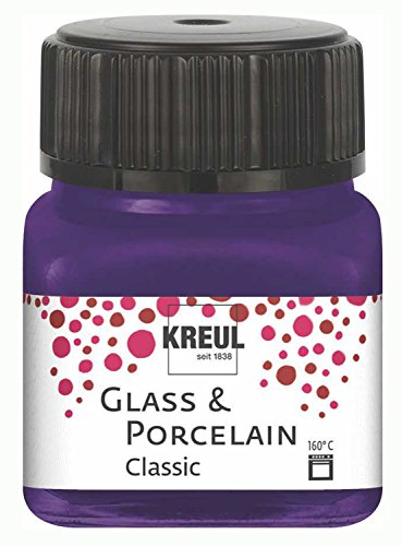 Kreul 16212 - Glass und Porcelain Classic, brillante Glas- und Porzellanmalfarbe auf Wasserbasis, schnelltrocknend, deckend, 20 ml im Glas, violett