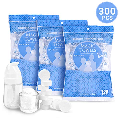 Aircover 300PCS Compressed Towels, Disposable Face Compressed Towels with a Dispenser Bottle, Portable Towel Napkin Tissue, Soft Compressed Wipe for Travel/Home/Outdoor Activities