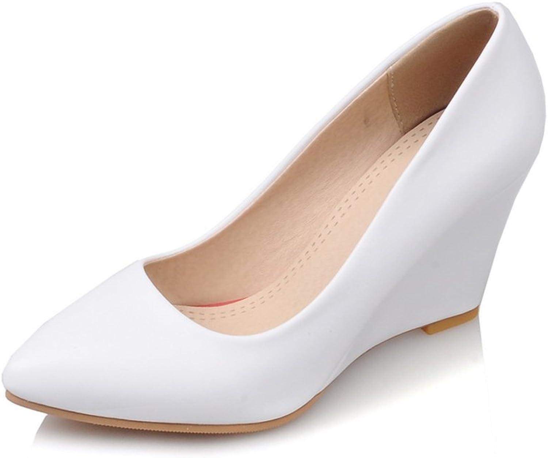 Lucksender Womens Closed Toe Wedge Heel Pumps shoes