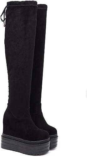 SFSYDDY Chaussures Populaires Slim Tête Ronde avec des 14Cm Genou Bottes Rude Talons Saut en Hauteur Bottes à élastique.