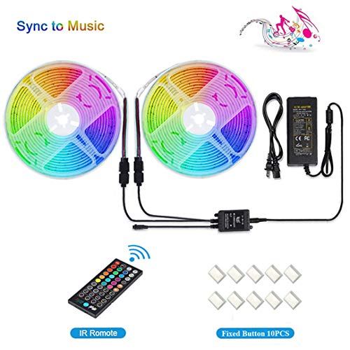 [2020 New] LUNSY RGB LED Light Strip Music Sync, Dimmable Strip Lights with Remote, 32.8 ft/10m, 12V, Waterproof, Multicolor Rope Lights Outdoor, Sound Activated, Dream Color, 300 LED 5050