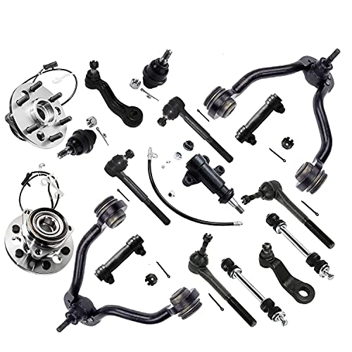 Detroit Axle - 4WD Front Suspension Kit and Wheel Bearings Control Arms Tie Rods 45.79mm Ball Joints Replacement for K1500 Yukon Tahoe Escalade - 17pc Set