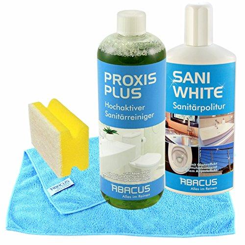 Bad-Grundreinigungs-Set (PROXIS PLUS & SANI WHITE) (7249) - Sanitärreiniger Konzentrat + Sanitärpolitur + Zubehör - Badreiniger Scheuermilch WC-Reiniger - ABACUS