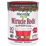 MacroLife Naturals Miracle Reds Superfood Powder - 19 Antioxidant-Rich Fruits & Berries, Polyphenols, Enzymes, Probiotics - Raw, Non-GMO, Organic, Vegan, Gluten-Free, Dairy-Free - 30oz (90 Servings)