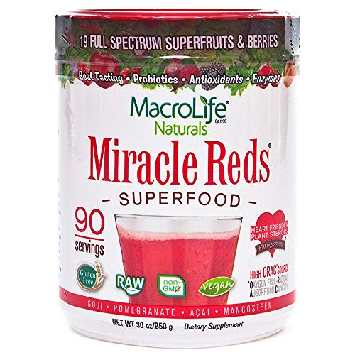 MacroLife Naturals Miracle Reds Superfood  Elderberry Plus 19 Non-GMO Superfruits & Berries - Vitamin C - 30oz - 90 Servings
