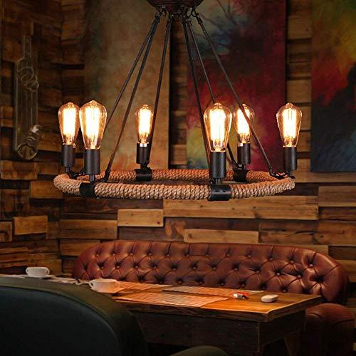 MJK Lámpara colgante vintage de cuerda de cáñamo + cable de farolillo E lámpara colgante para casa de campestre, bar, salón, cuerda de cáñamo