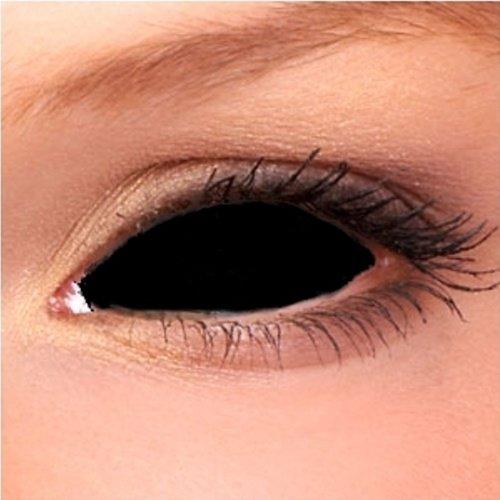 Black Sclera lenses 22mm (1 pair) + lens case, Sclera Negro