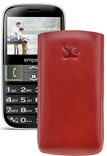 Original Suncase Tasche für / Emporia EUPHORIA V50 / Leder Etui Handytasche Ledertasche Schutzhülle Hülle Hülle - Lasche mit Rückzugfunktion* In Rot