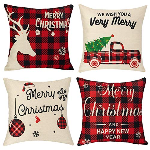 Sunolga Christmas Throw Pillow Covers, 18x18 Cotton Linen Red and Black Buffalo Checkered Deer Snowflake Xmas Trees Pattern Pillow Covers for Sofa Bedding Car and Home Decor (4 Pack)