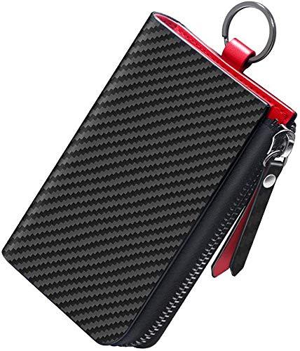 Aemicion キーケース スマートキー 車キーケース キーホルダー 本革 カーボンレザー ハイブリッドレザー メンズ 6連 カード入れ付き ブラック×レッド