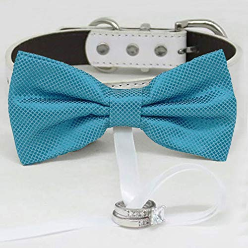 Super-cheap Blue bow tie collar wholesale Leather dog of ring bearer adju honor