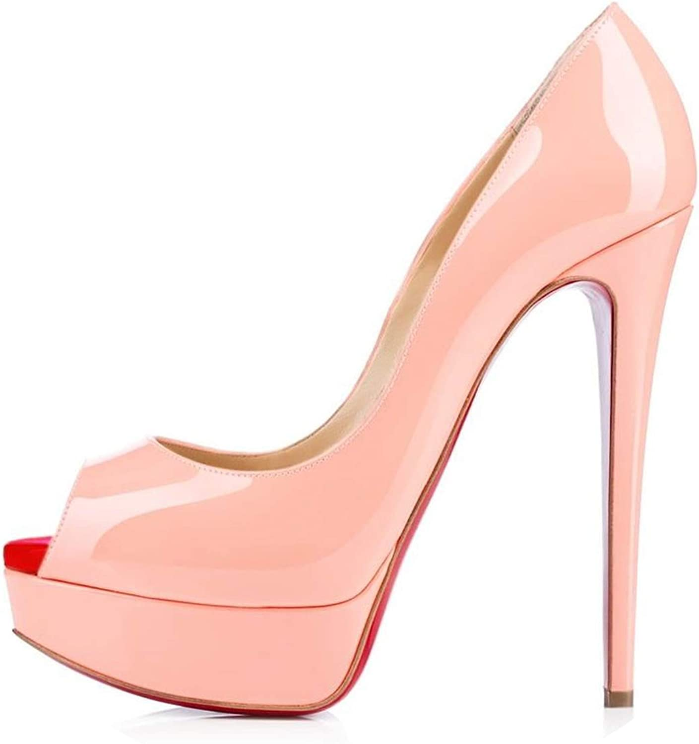 LAIGEDANZI Womens Pumps Leather Wedges Platform Stiletto High Heels Open Toe Sexy Party shoes,Pink,4