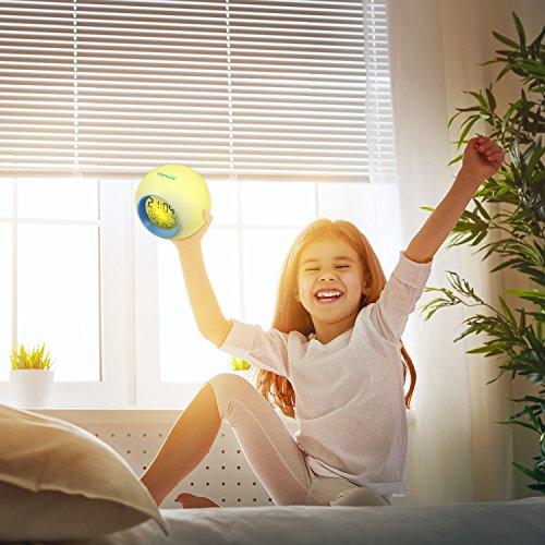 Réveil HAMSWAN 7 Couleurs Lumière de Nuit Lampe de Table Affichage de Température Intérieure pour Parent Étudiant(Bord de l'écran: Bleu Clair)