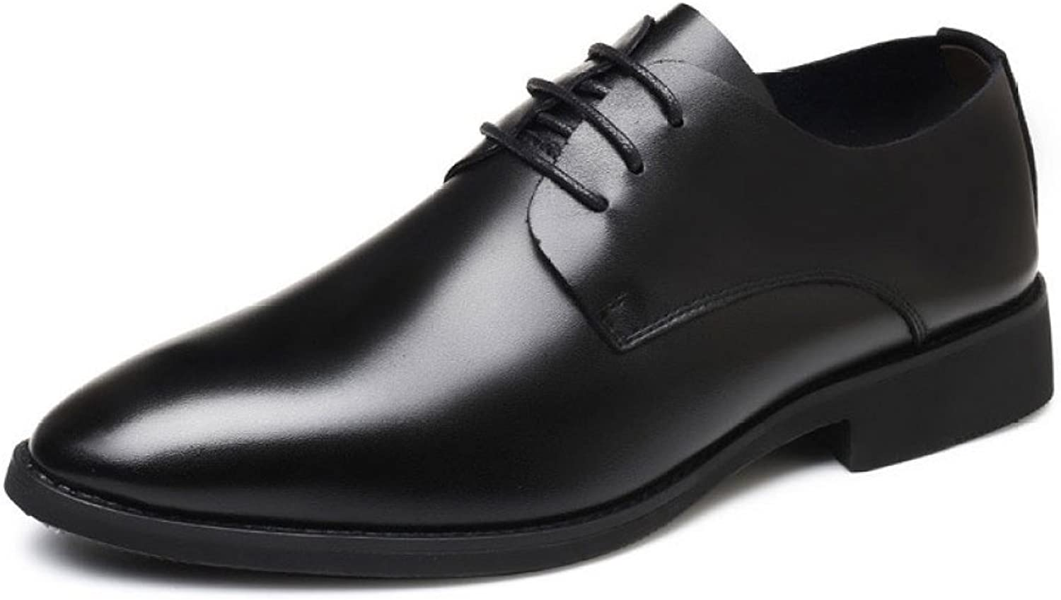 ZLLNSPX Men Pointed Leather shoes Lace-up Business shoes English shoes