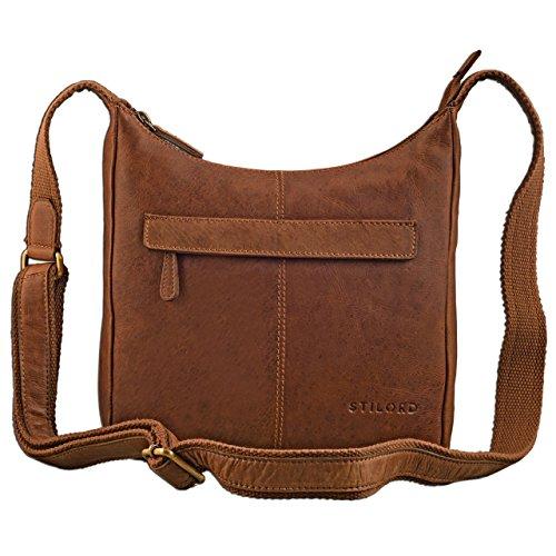 STILORD kleine lederen schoudertas vintage handtas met verstelbare schouderband in zacht antiek leder dames, Kleur:cognac - bruin