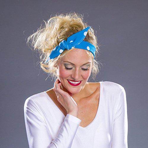 NET TOYS 50er Jahre Haarband Rockabilly Haartuch blau-weiß Rock'n'Roll Kopftuch Rockabella Haarschmuck