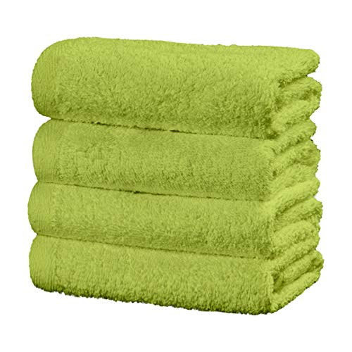 Viste tu hogar Juego de 4 Toallas Hechas 100% de Algodón,30x50 cm, Suaves y Absorbentes, Ideales para Uso Diario y Decoración, en Color Verde.