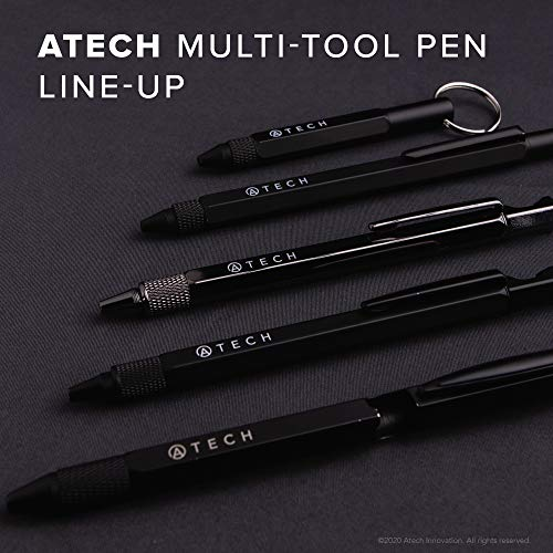ATECH The Original Multifunction Pen 7 in 1 Tech Tool Pen with Ruler, Stylus, Bottle Opener, 2 Screw Driver, and Phone Stand, Multi Tool Fit for Mens survival (Black)