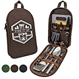 13 PC Grilling and Camping Cooking Utensils Set for The Outdoors BBQ - Stainless Steel Camp Kitchen Set Cookware Grill Tool Accessories Kit with Lightweight Stylish Crossbody Carrying Bag (Brown)