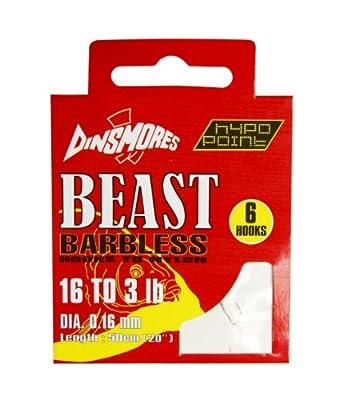 Dinsmores Beast Barbless Fishing Hooks to Nylon - White, 16