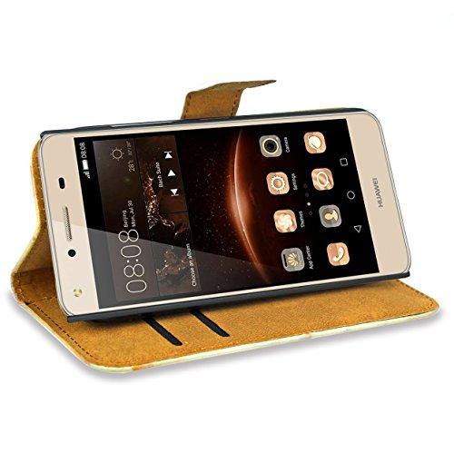 FoneExpert® Huawei Y6 II Compact / Huawei Y5 II Handy Tasche, Wallet Case Flip Cover Hüllen Etui Hülle Ledertasche Lederhülle Schutzhülle Für Huawei Y6 II Compact / Huawei Y5 II - 3