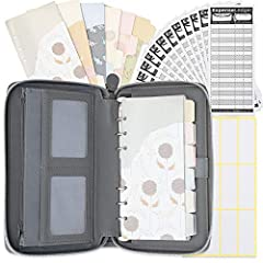 Deluxe Large Size Wallet at 8.5 inches by 5.5 inches Convenience outside cell phone pocket with magnetic closure Mini Binder with 12 Assorted Cash Envelopes and 12 Ledgers. Includes 12 debit, credit, membership card slots and 2 transparent ID slots I...