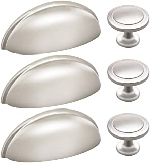 30Packs Kitchen Cabinet Cup Pulls, Sunriver 15 Pcs Brushed Nickel Bin Cup Handles and 15Pcs Knobs 3 Inch 76mm Stainless Steel Kitchen Cabinet Hardware Cup Pull and Knob Set