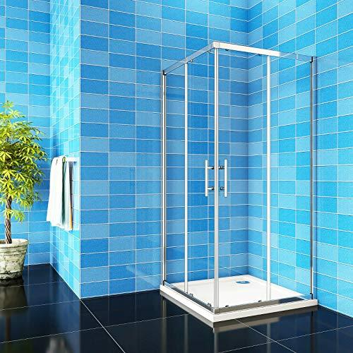 Aica Sanitär Duschkabine Eckeinstieg 80x80x185cm Duschabtrennung Schiebetür Echtglas Duschtür 6mm glas Höhe 185cm