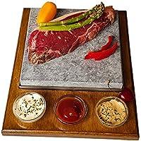 Piedra asar carne a la piedra de 20x20 color roble con tres salseros