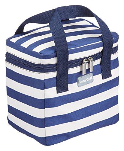 Kitchen Craft We Love Summer Kühltasche Gestreift 4.9 Liter, Polyester, Blau/Weiß, 22 x 16 x 19 cm